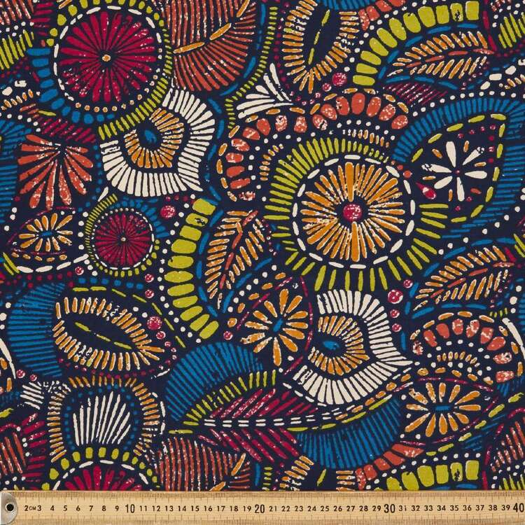 Tribal Geo Printed 148 cm Cotton Spandex Fabric