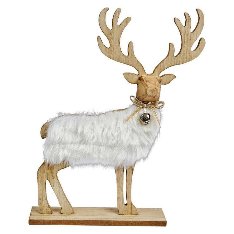 Bouclair Holiday Nostalgia Deer With Fur Ornament