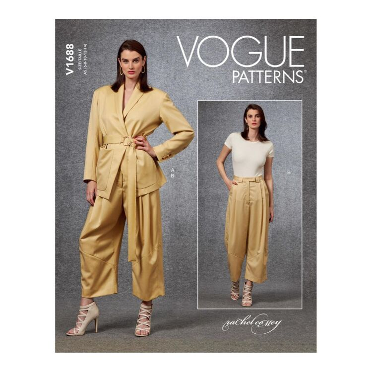 Vogue Pattern V1688 Misses' Jacket, Belt & Pants by Rachel Comey