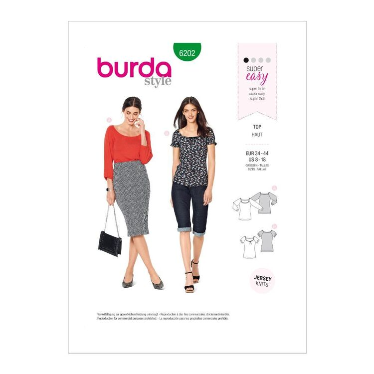 Burda Pattern 6202 Misses' Tops Pull-On, Designed For Stretch Knits