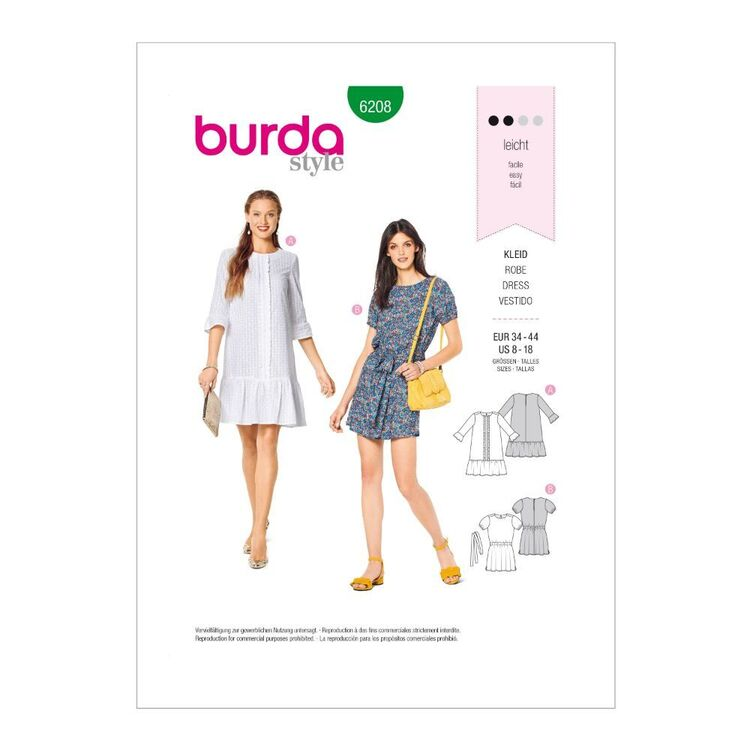 Burda Pattern 6208 Misses' Pull-On Dresses With Length Variations