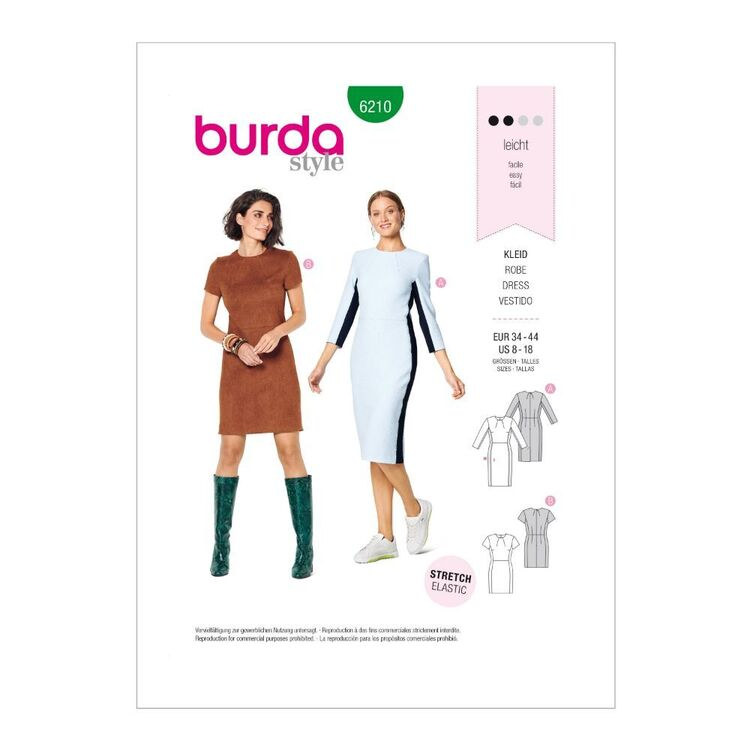 Burda Pattern 6210 Misses' Shift Dresses
