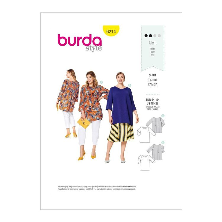 Burda Pattern 6214 Women's Pull-On Tops