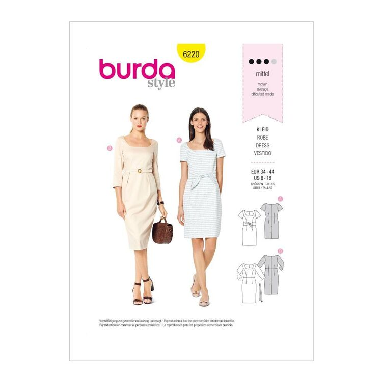 Burda Pattern 6220 Misses' Fitted Dresses With Variations