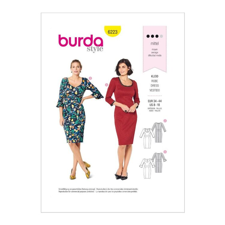 Burda Pattern 6223 Misses' Fitted Dresses With Neckline Variations
