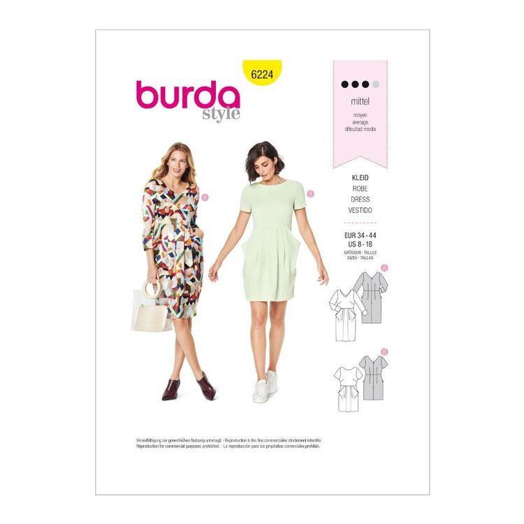 Burda Pattern 6224 Misses' Dresses With Length, Sleeve & Neckline Variations