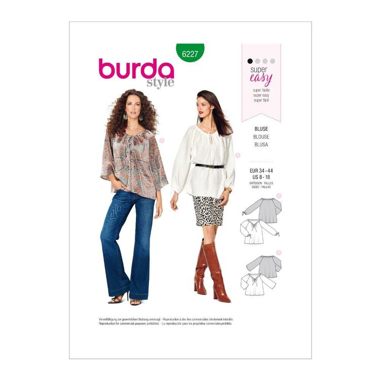 Burda Pattern 6227 Misses' Blouse With Drawstring Neckline