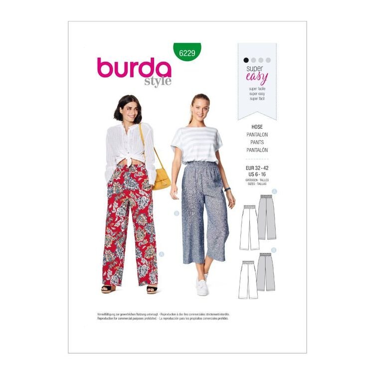 Burda Pattern 6229 Misses' Pull-On Pants In Two Lengths