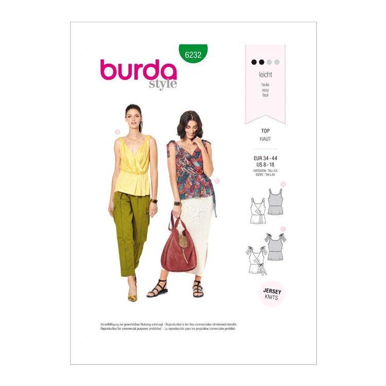 Burda Pattern 6232 Misses' Tops With Drap Or Mock-Wrap