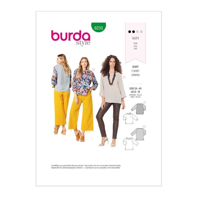 Burda Pattern 6233 Misses' Casual Tops
