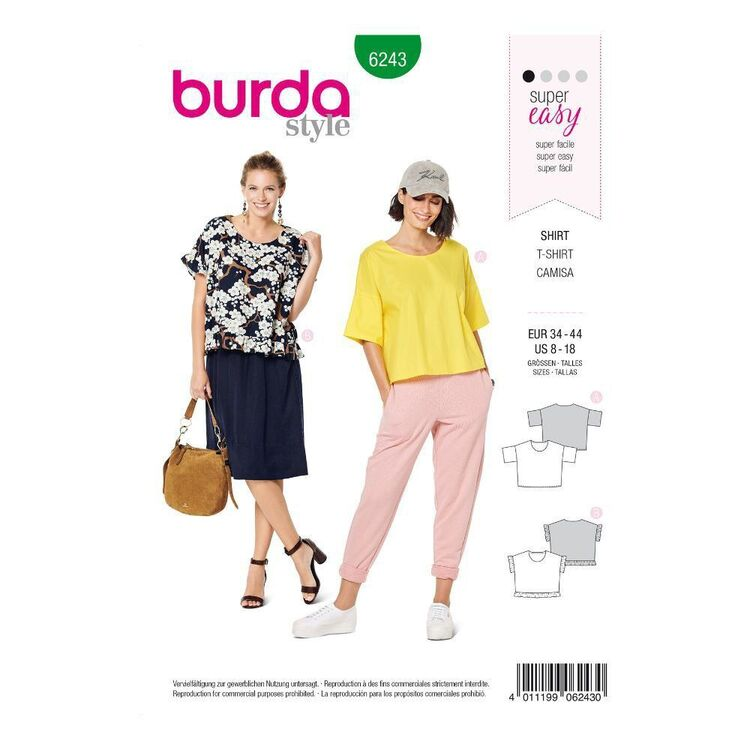 Burda Sewing Pattern 6243 Misses' Casual Tops
