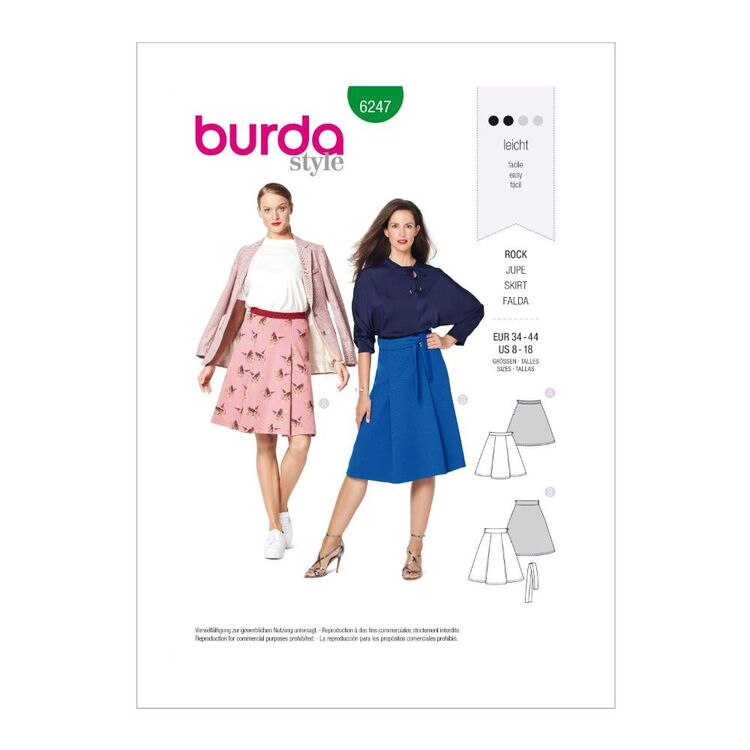 Burda Pattern 6247 Misses' Panelled & Flared Skirts In Two Lengths