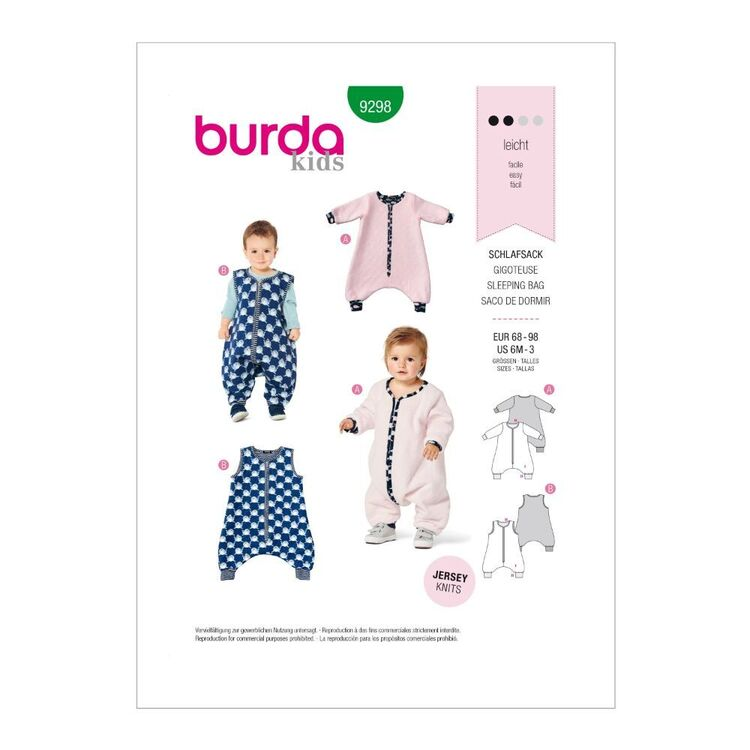 Burda Pattern 9298 Toddlers' Infants Sleeping Bag Or Jumpsuit