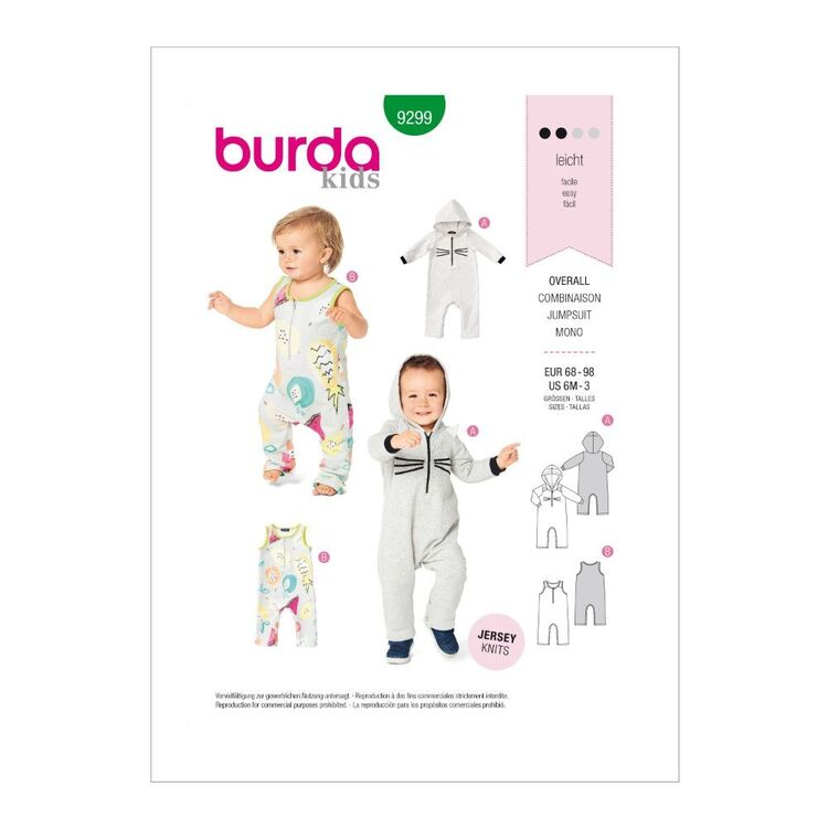 Burda Pattern 9299 Toddlers' Jumpsuits With Variations