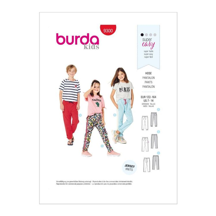 Burda Pattern 9300 Children's Jogger-Style Pants