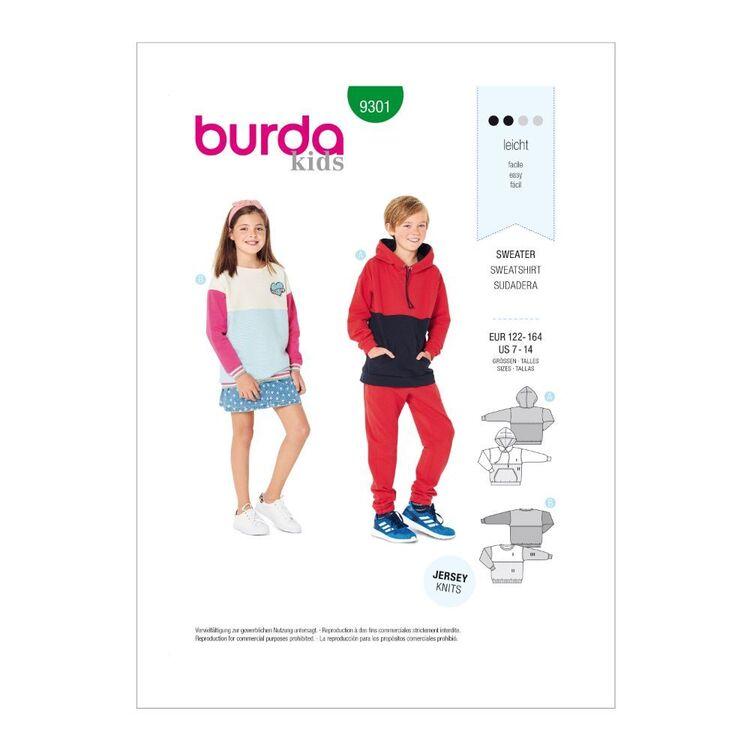 Burda Pattern 9301 Children's Sweatshirt & Hoddie Tops