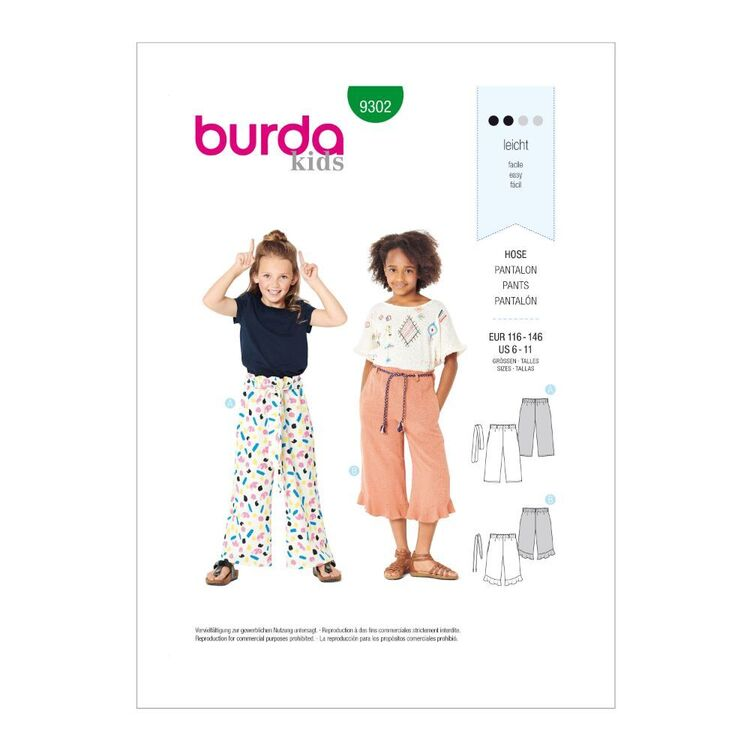 Burda Pattern 9302 Children's Pull-on Pants with length Variations