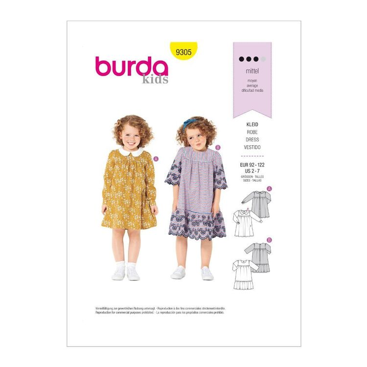 Burda Pattern 9305 Children's Dresses With Yokes & Sleeve Variations