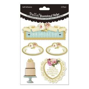 Bella! 3D Wedding Stickers 5 Pack