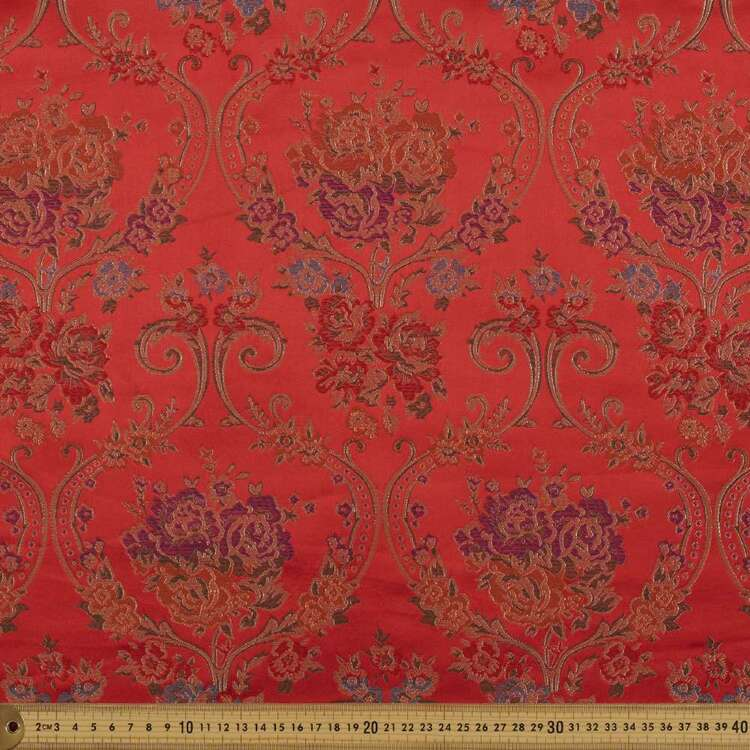 Floral Printed 90 cm Oriental Brocade Fabric