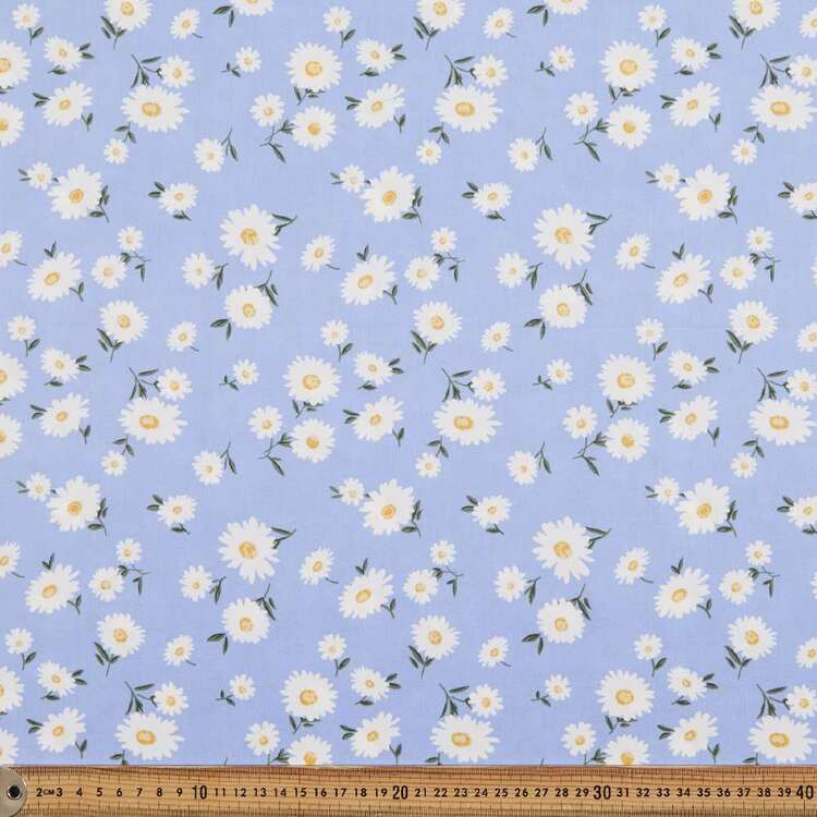 Daisy Blues Printed 112 cm Cotton Poplin Fabric