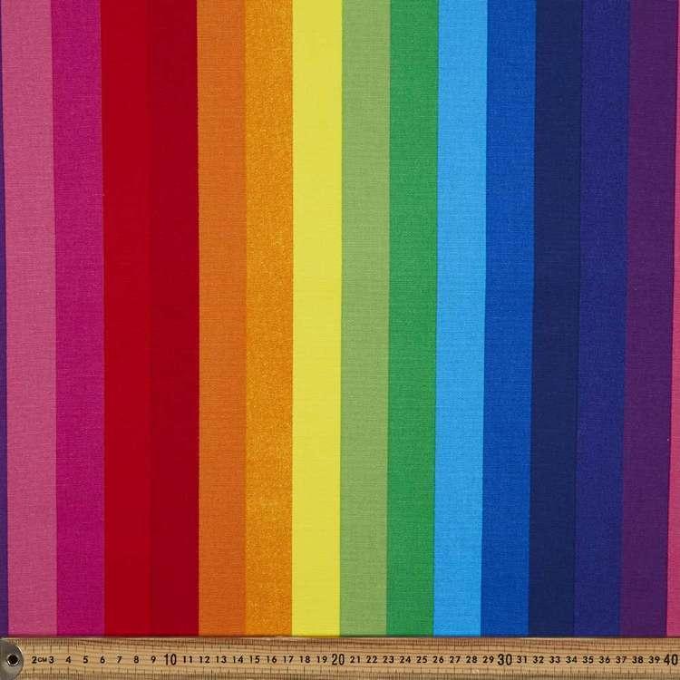Rainbow Stripe Printed 112 cm Buzoku Cotton Duck Fabric