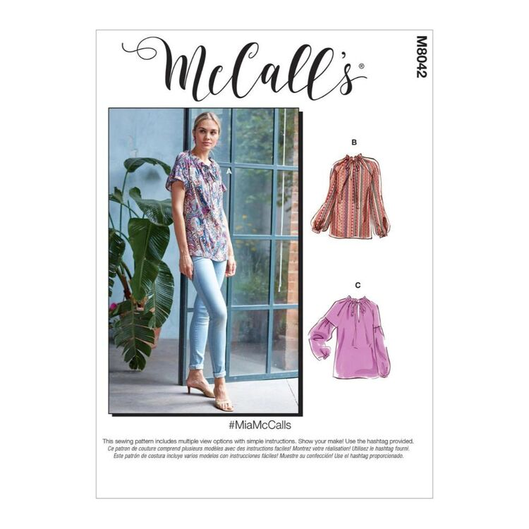 McCall's Pattern M8042 #MiaMcCalls - Misses' Tops