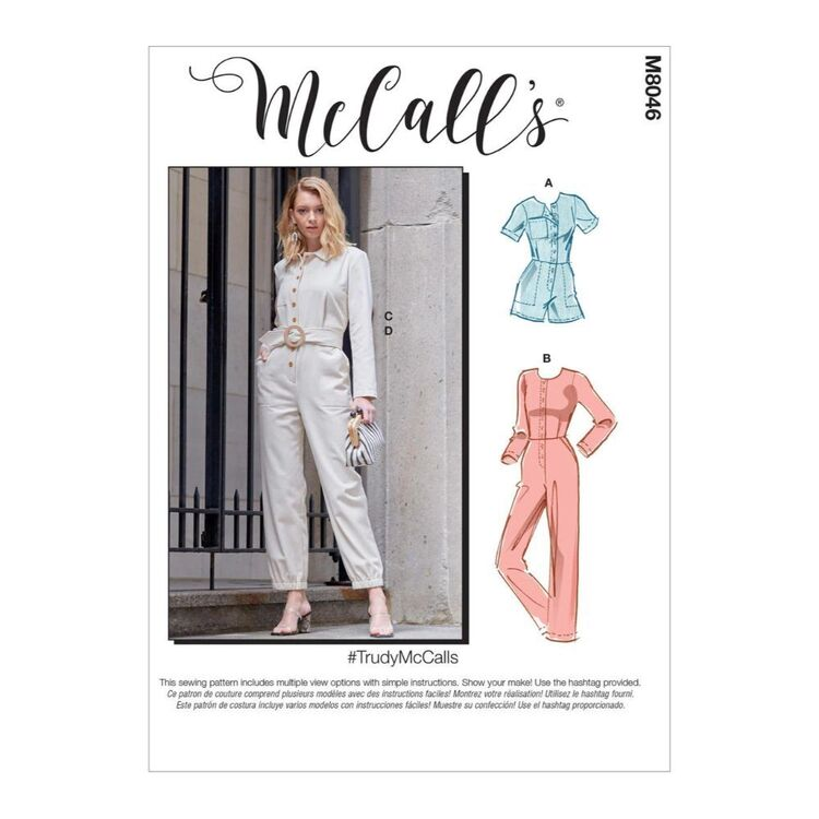 McCall's Pattern M8046 #TrudyMcCalls - Misses' Romper, Jumpsuit & Belt