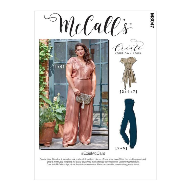 McCall's Pattern M8047 #EdieMcCalls - Misses' & Women's Romper, Jumpsuit & Sash