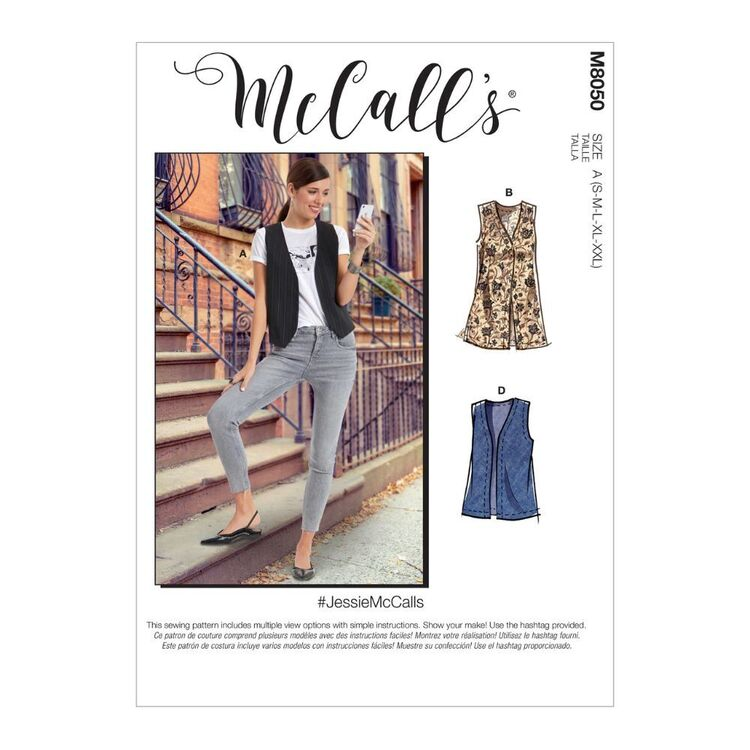 McCall's Pattern M8050 #JessieMcCalls - Misses' Unlined Vests In Two Lengths