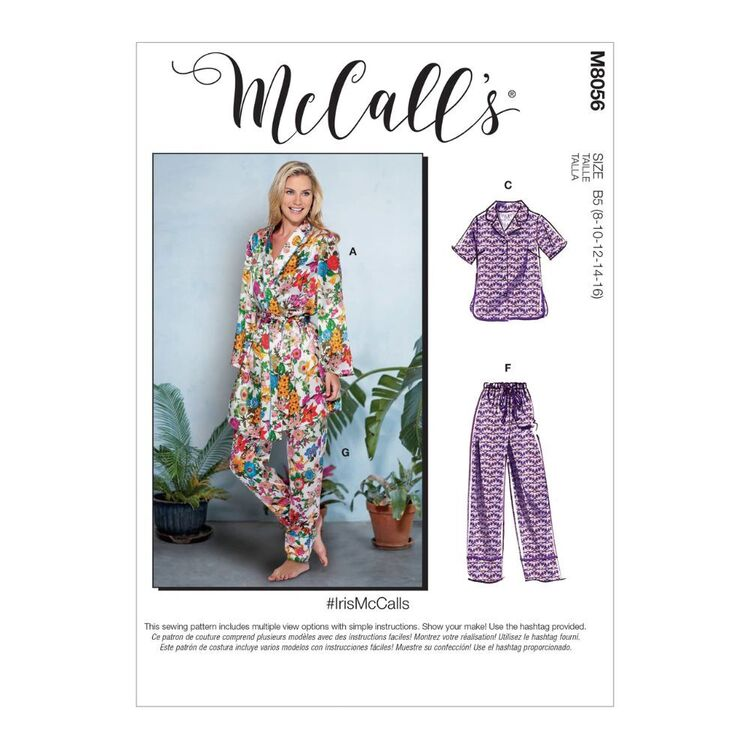 McCall's Pattern M8056 #IrisMcCalls - Misses' Robe, Belt, Tops, Shorts and Pants