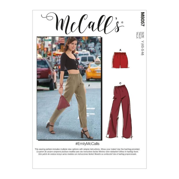 McCall's Pattern M8057 #EmilyMcCalls - Misses' Elastic-Waist Shorts and Pants