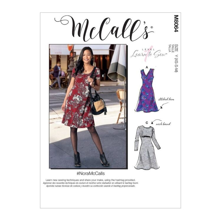 McCall's Pattern M8064 #NoraMcCalls - Misses' Knit Dresses with V, Crew or Scoop Necklines