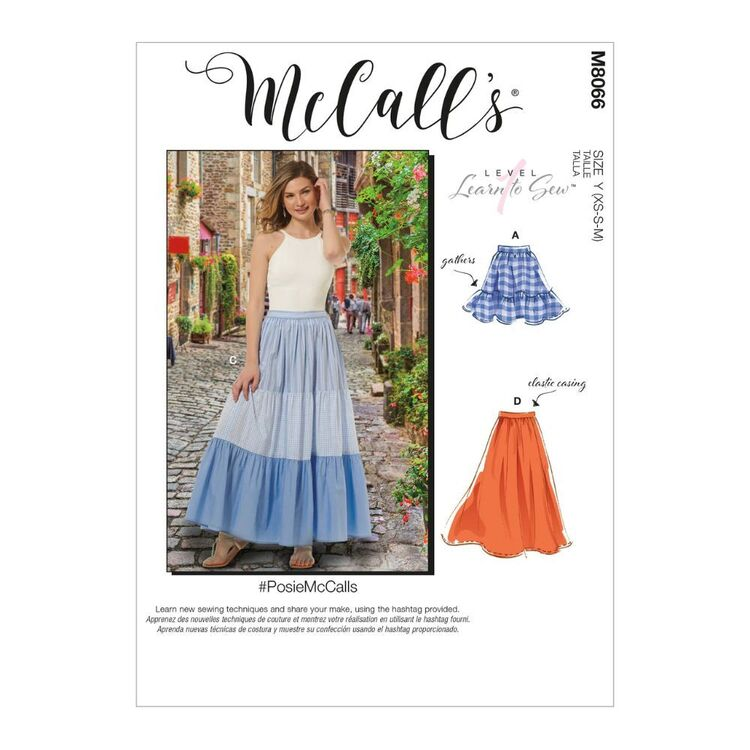 McCall's Pattern M8066 #PosieMcCalls - Misses' Pull-On Gathered Skirts with Tier and Length Variations