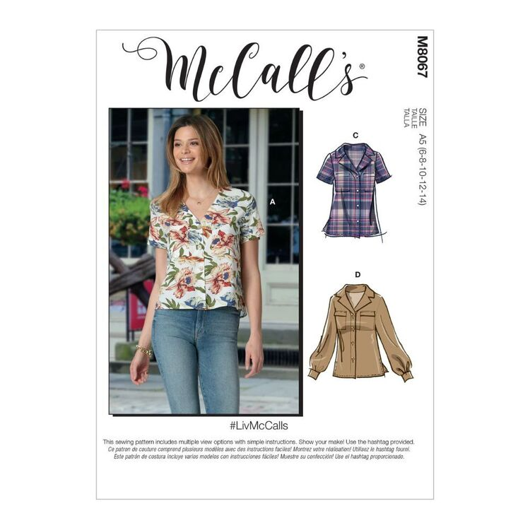 McCall's Pattern M8067 #LivMcCalls - Misses' Button-Front Tops with Collar and Sleeve Options