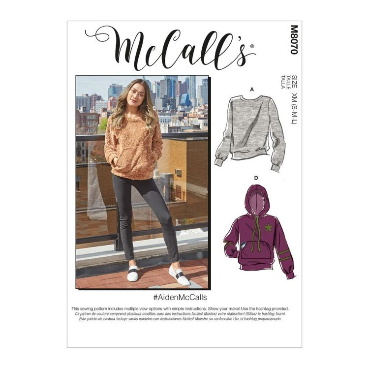McCall's Pattern M8070 #AidenMcCalls - Misses' and Men's Tops