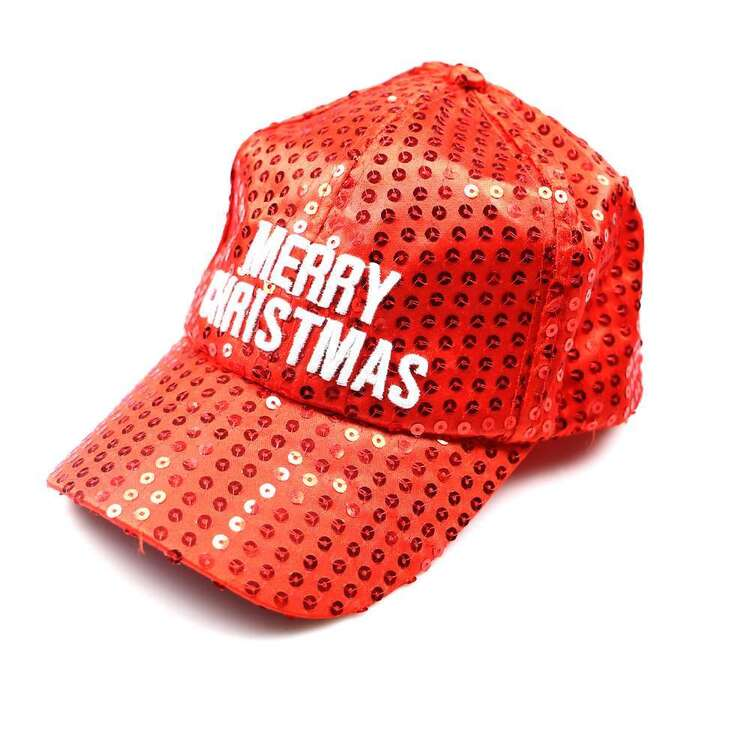 Jolly & Joy Glitter Merry Christmas Cap Red