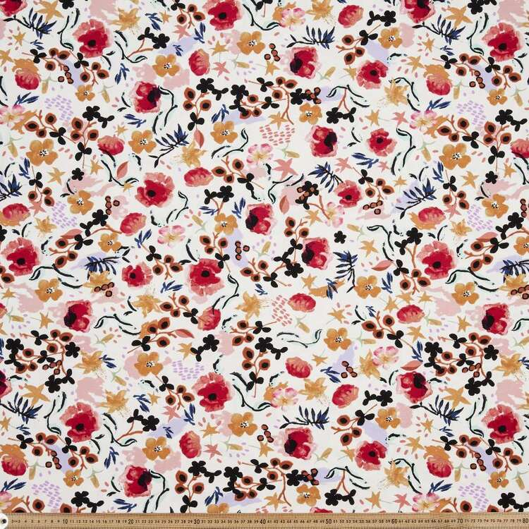 Tuscan Flower Printed 148 cm Rayon Spandex Knit Fabric Multicoloured 148 cm