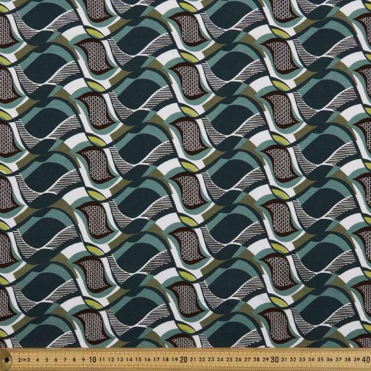 Retro Geo Printed 148 cm Rayon Spandex Knit Fabric
