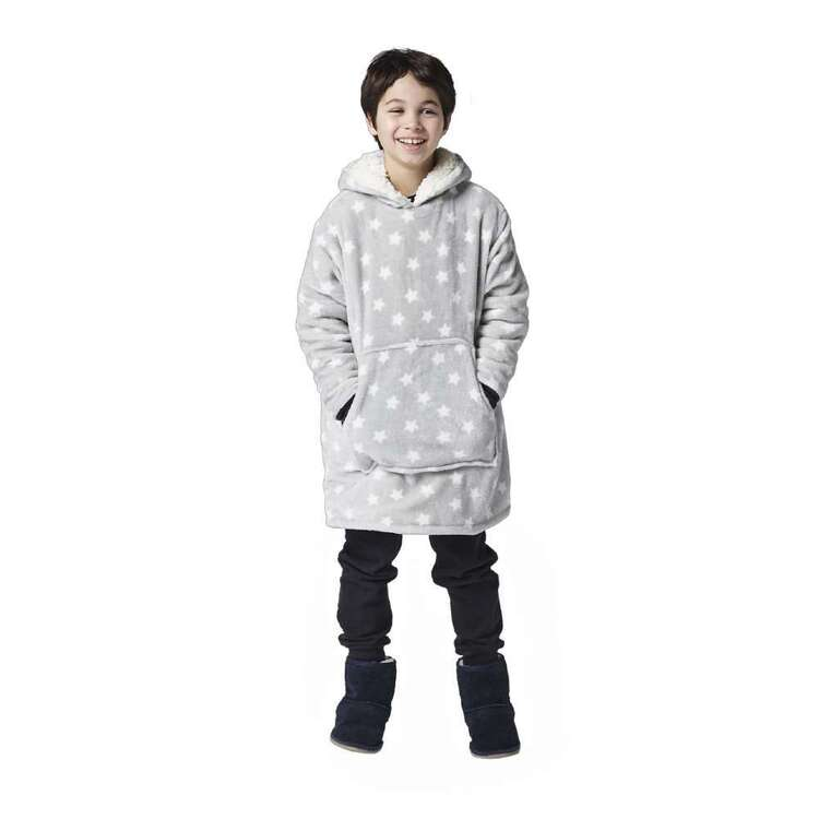 Kids House Hooded Star Blanket Grey