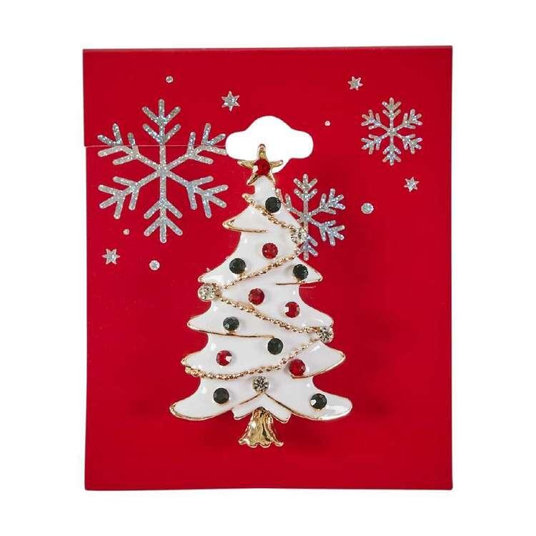 White Christmas Tree Brooch