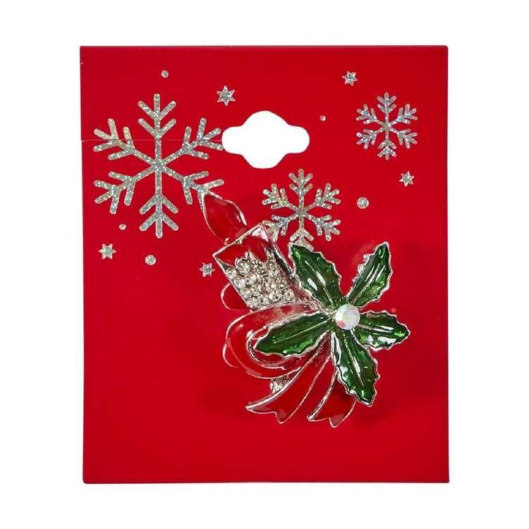 Poinsettia Christmas Brooch