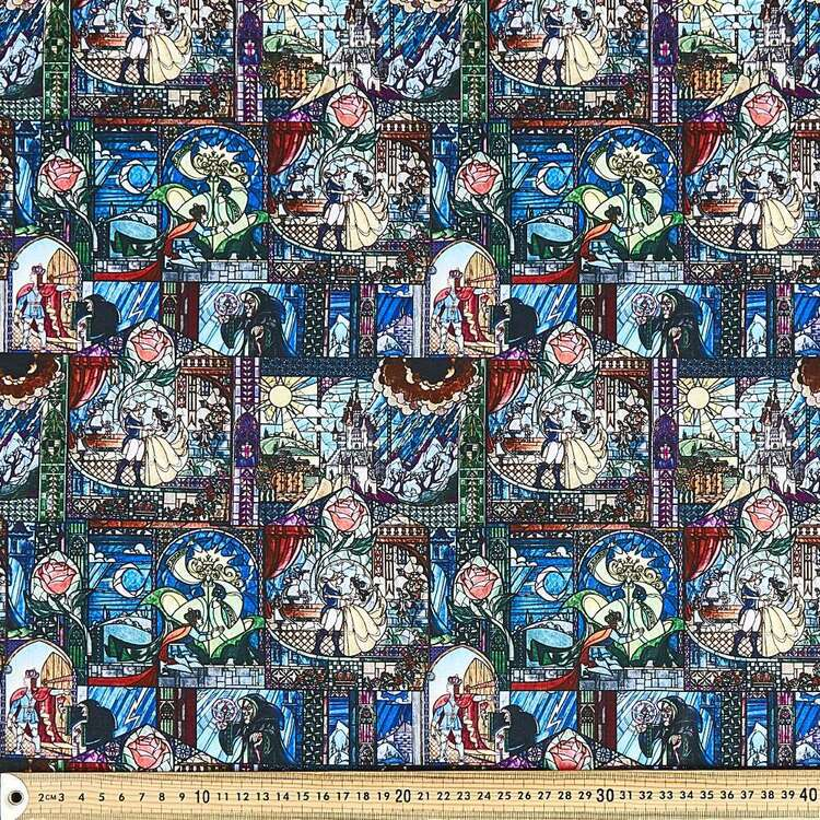 Disney Beauty & The Beast Stained Glass Cotton Fabric