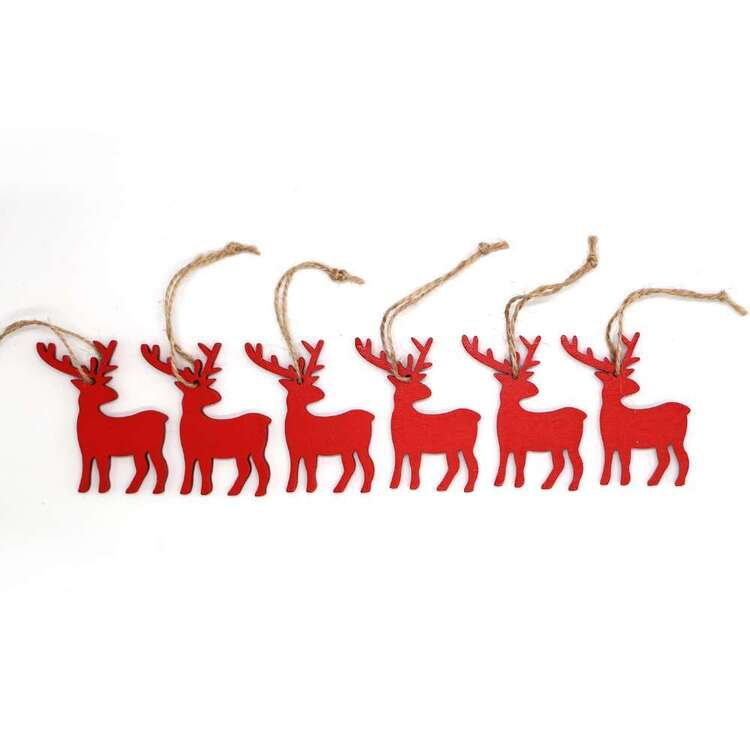 Jolly & Joy Red Reindeer MDF Present Topper 6 Pack Red