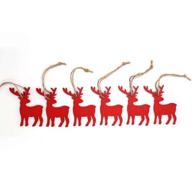 Jolly & Joy Red Reindeer MDF Present Topper 6 Pack
