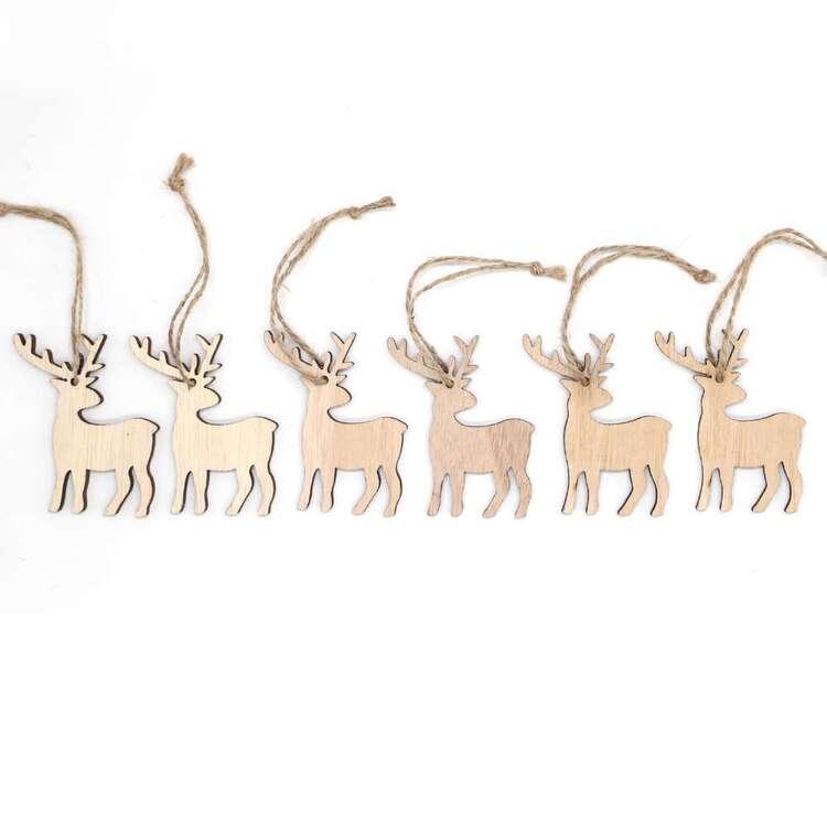 Jolly & Joy Natural Reindeer MDF Present Topper 6 Pack