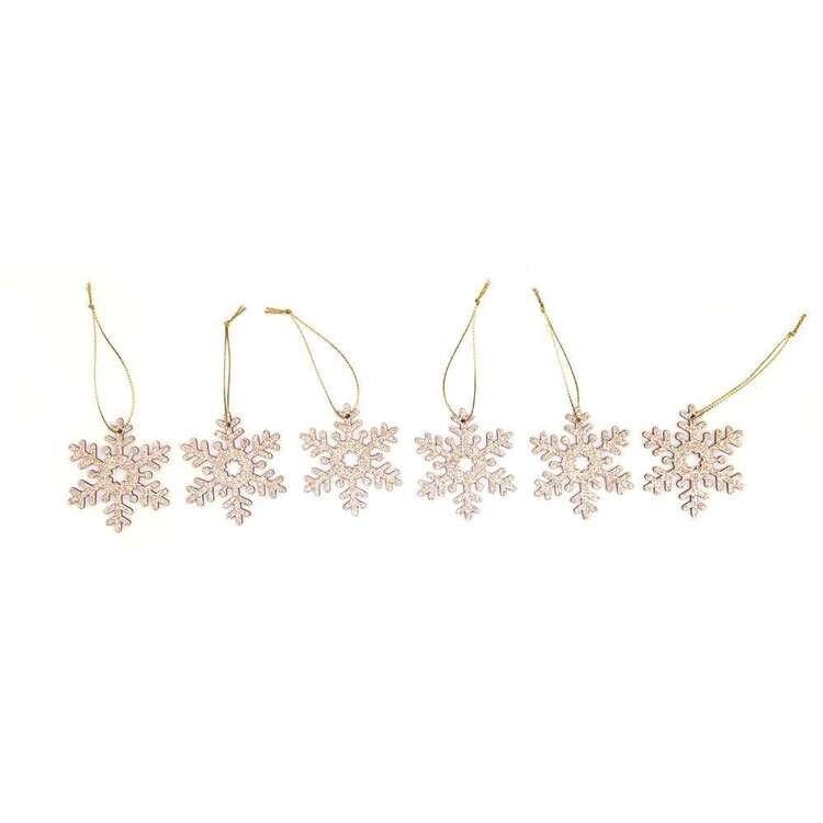 Jolly & Joy Snowflake MDF Present Topper 6 Pack Natural