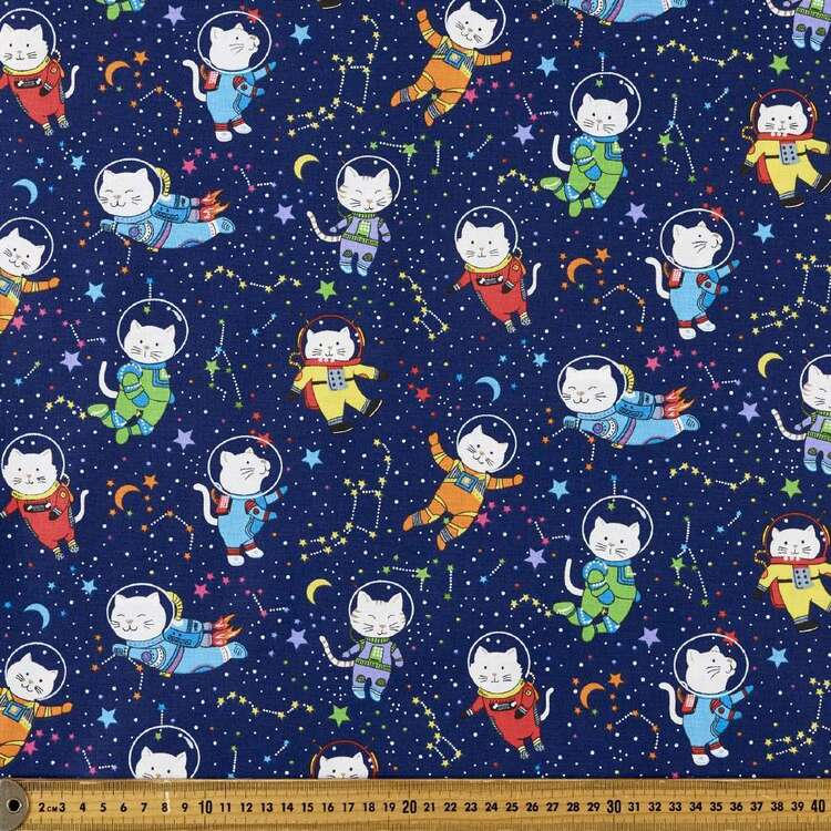 Space Cats Printed 112 cm Cotton Fabric