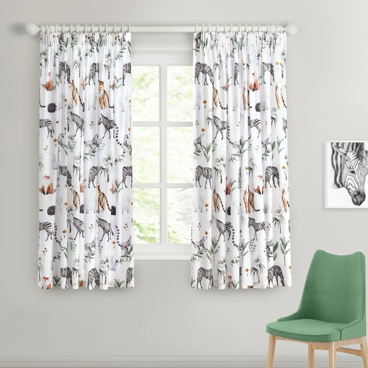 Caprice Zoo Pencil Pleat Curtains