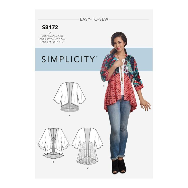 Simplicity Pattern S8172 Misses' Fashion Kimonos with Length, Fabric and Trim Variations